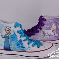 Super Maisy's Supershoes design brief included: Elsa, unicorns and the colour purple
