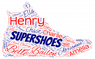 The names of some of our Supershoes recipients to celebrate reaching 500.